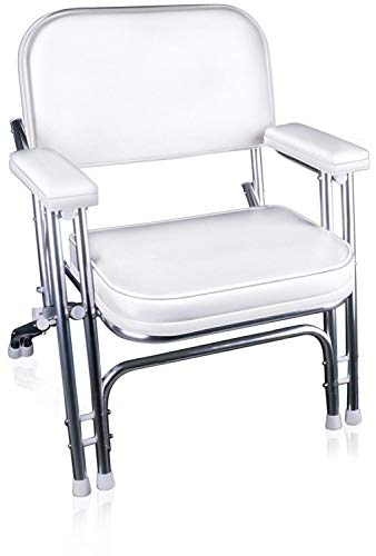 Leader Accessories Portable Folding Deck Chair with Aluminum Frame and Armrests (White)