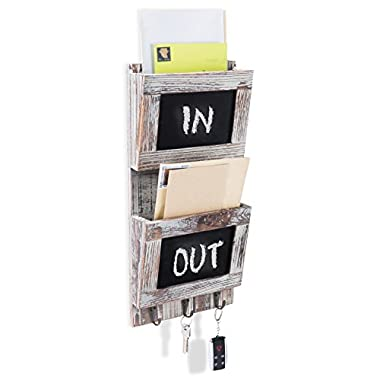 2-Slot Rustic Wood Wall-Mounted Mail Sorter Organizer with Chalkboard Surface & 3 Key Hook Rack