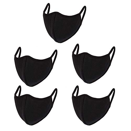 5 Pcs Reusable Cotton Face Mask,Unisex Fashion Cotton Face & Mouth Cover for Cycling Travel Outdoors