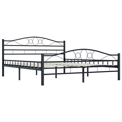 Lasamot Somier de Acero, Estructura de Cama Moderna Hecha de Acero sólido Negro 210 x 167 x 85 cm (Largo x Ancho x Alto)