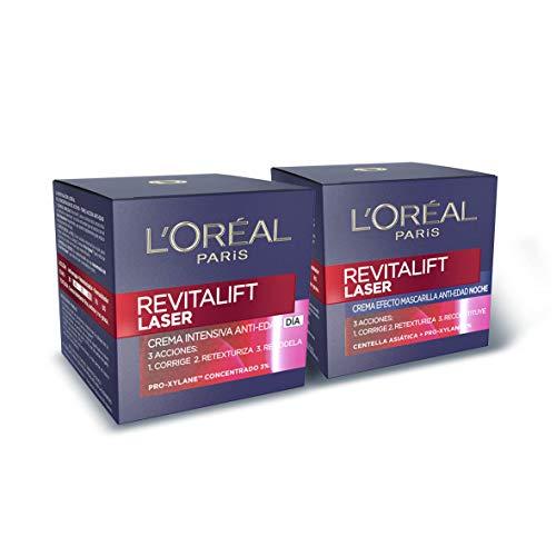 L'Oréal Paris Revitalift Láser Set de Crema de Día y Crema de Noche Anti-Edad, Triple Acción y Antiarrugas, 50 ml cada una