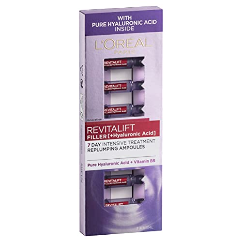 L'Oréal Paris Revitalift Filler Revolumising Anti-Ageing Serum in Ampoules, with Hyaluronic Acid, Dermatologically Tested, 7x1.3ml