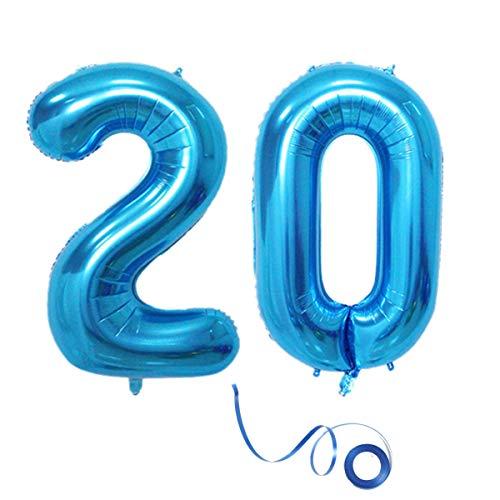 Haosell Party Folienballon Zahl 20 Blau Helium Luftballon Nummer 20 Geburtstag Nummer 20 Geburtstag Party Dekoration Luftballon Geburtstag XXL Folienballon 40