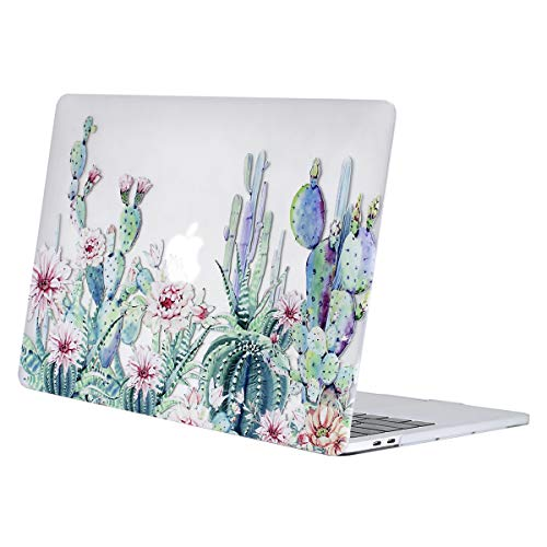 MOSISO MacBook Pro 13 inch Case 2016-2019 Release A2159 A1989 A1706 A1708, Plastic Pattern Hard Case Shell Cover Compatible with MacBook Pro 13 with/without Touch Bar, Clear Base Cactus