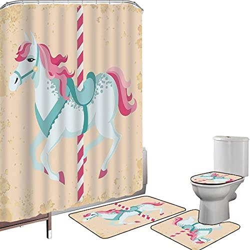 Juego de cortinas baño Accesorios baño alfombras Decoración del caballo Alfombrilla baño Alfombra contorno Cubierta del inodoro Vintage Carrusel Caballo Infantil Circo Alegre Parque de atracciones Niñ
