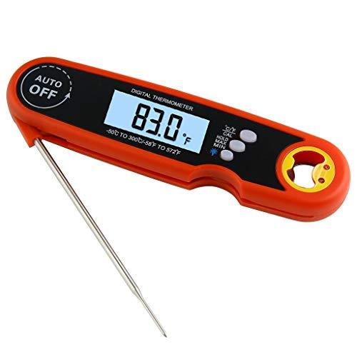 NBAA Fleischthermometer Digital, Wasserdichtes Grillthermometer mit 12cm Sonde, Sofortige Lesungen, LCD Bratenthermometer Küchenthermometer Ideal für Braten, BBQ, Baby-Ernährung