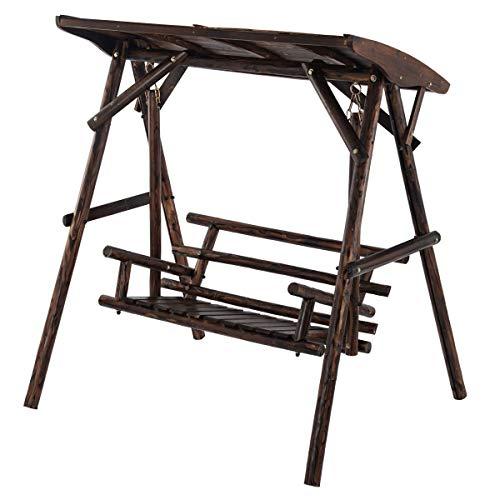 ぼん家具 ブランコ 木製 屋根付き 2人用 庭 ガーデニング 屋外 大型 焼杉 遊具 ガーデン