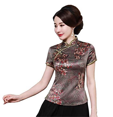 Yue Lian Dame Retro Stehkragen Blumenmuster Cheongsam Bluse Kurz?rm Sommer Shirt Oberhemd(Blumen,4XL:EU 46)