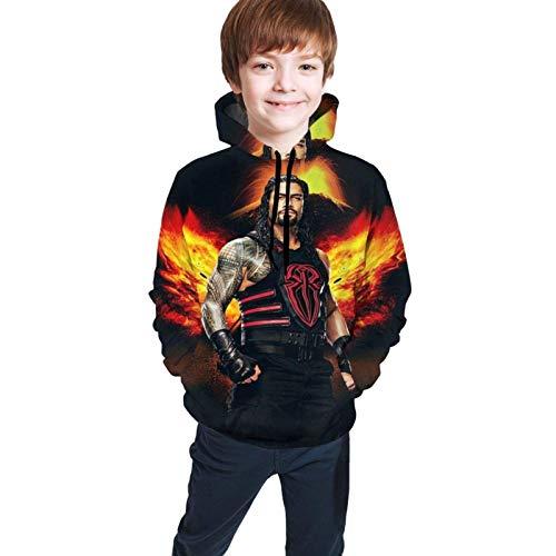 Roman-Reigns 3D Print Casual Jugend Athletic Pullover Kinder Kapuzen Trainingsanzug Sweatshirt S(7-8)