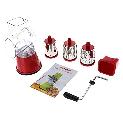 CjnJX-Vases Manual Rotary Drum Grater Stainless Steel Cheese Grater Vegetables Cutter Shredder With 3 Different Cylinders Drums,for Cheese, Vegetables(1)
