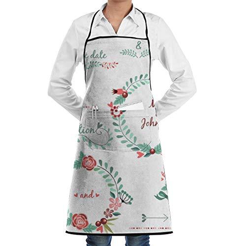 N/B Bruiloft Patroon Pak Garland Bloem Lint 1 Stuk Verstelbare Schort Pocket Voor Mannen En Vrouwen In Koken, Barbecue En Bakken