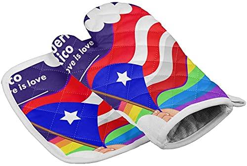 BONRI Día de la Independencia Juego de manopla para Horno y Soporte para ollas Bandera de Puerto Rico Resistencia al Calor Superficie Antideslizante Guantes de Horno para Tiras de Estrellas Navide