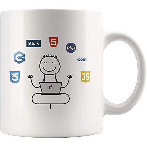 Yoga para ingenieros de software Programador Taza de regalo divertida Programación por computadora C ++ Java Https Taza de té de café de cerámica Blanco brillante