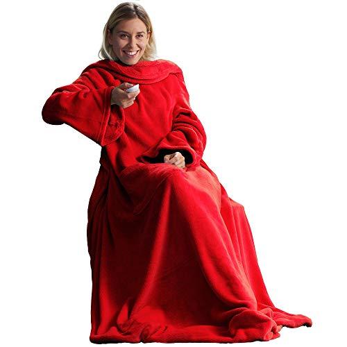 CelinaTex TV-Decke Kuscheldecke mit Ärmeln und Fußtasche XL 170 x 200 cm rot Coral Fleece Tagesdecke Ärmeldecke