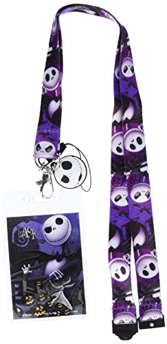 Disney Tim Burton's The Nightmare Before Christmas Jack Lanyard with Soft Dangle & Card Holder,Multi-colored,3'