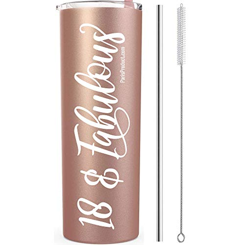 18 & Fabulous 20 Oz Stainless Steel Tumbler, 18th Birthday Gifts For Girls, 18th Birthday Decorations for Girls, 18th Party Supplies For Girls Eighteenth Photo Shoot Prop Return Gift Her