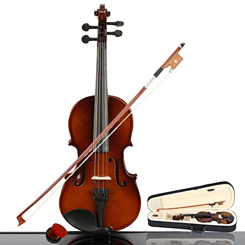 Hom-dis 1/4 Acoustic Violin Wood Violin with Carrying Case,Bow,Rosin for Violin Beginner/6-8 years old Kids