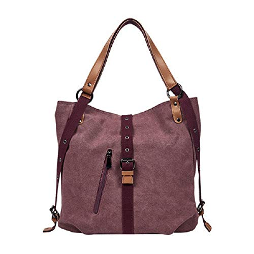 CMZ Backpack Trendy Canvas Women's Bag Large-Capacity Fashion Shoulder Bag Multi-Compartment Retro Leisure Ladies Travel Backpack