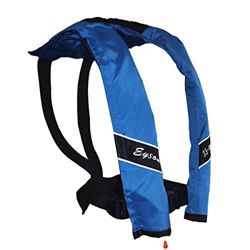 Eyson Slim and Neckline Comfortable Inflate Inflatable PFD Survival Aid Sailing Life Jacket Vest Universal Adult Manual (Black)