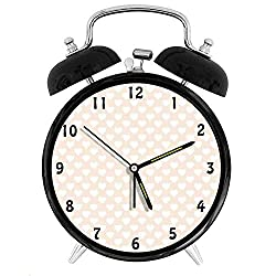 Happy-zhjX Retro Style Twin Bell Alarm Clock with nightlight,4in,Black Number Decoration-Vintage Inspired Love Pattern with Continuous Delicate Symmetrical Hearts,for Home and Office.