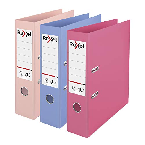 Rexel Pastel Plastic A4 Lever Arch Files, 3 File Folders, Assorted; Pink,...