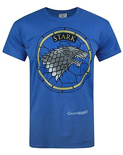 Official Juego de Tronos - Casa Stark - Camiseta Oficial Hombre - Azul, Medium