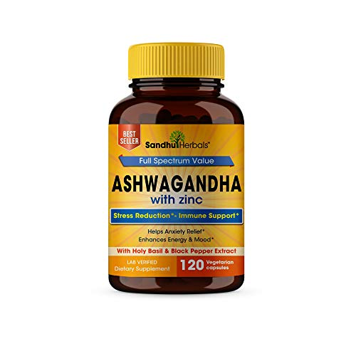 Sandhu Herbals Ashwagandha with Zinc Black Pepper Extract Ashwagandha Powder Anxiety Relief Stress Relief Thyroid & Mood Support Cortisol Adrenal Support AntiAnxiety Supplements 120 Veggi Capsules
