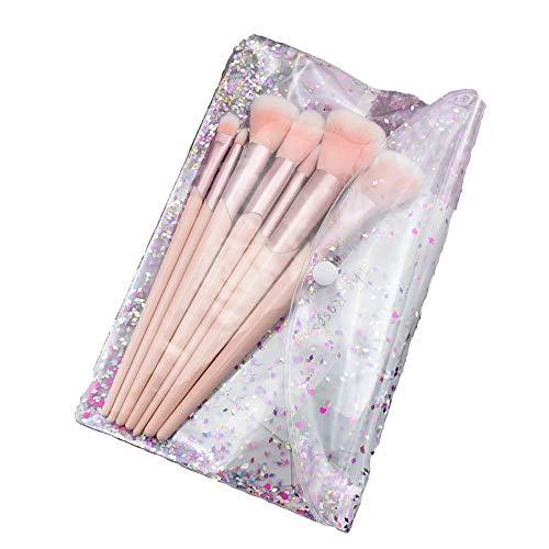 Pinceaux De Maquillage Professionnel, 7Pcs Pinceaux De Maquillage Rose Manche En Plastique Pinceau De Maquillage Ensemble Tube Incliné Fibre Cheveux Beauté Ensemble D'outils,Rose