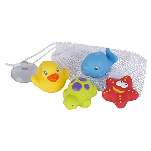 Playgro Juguete de Baño 4 Amigos con Red de Almacenamiento, Totalmente Sellado, Impermeable-Sin Suciedad, Juguete para el Bebé Durante el Baño, a Partir de 6 Meses, Sin BPA, 40223, Multicolor