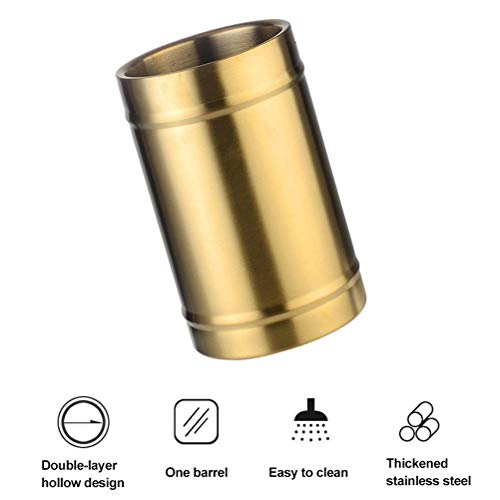 Taoke Isolierte Eiskübel - Doppelwand Champagne Bucket Hält EIS gefroren Längerer - 3 Liter Edelstahl-Eiskübel for Parteien (Silber-3L) (Farbe: Silber-3L) dongdong (Color : Goldencylindrical)