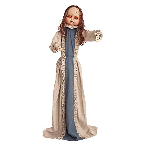 Muñeca diabólica con luz, Sonido y Movimiento de Halloween Azul de 150 cm - LOLAhome