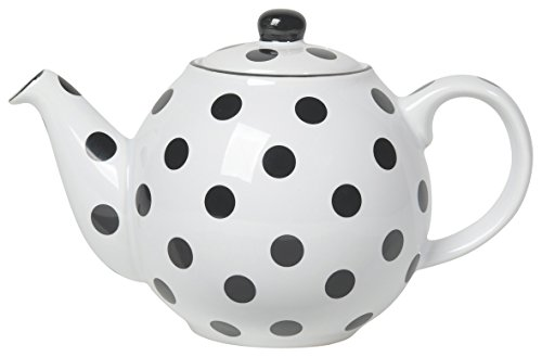 Globe White Teapot with Black Polka Dots