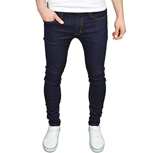 Soulstar Mens Boys Designer Branded Stretch Skinny Jeans – Dark Indigo (32W x 32L, Dark Indigo)
