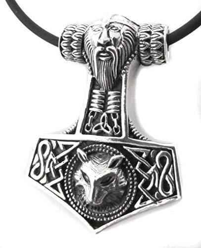 Colgante Thors Hammer con cara y lobo de 925er plata de ley