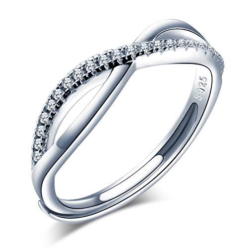 Anillo abierto de plata 925, anillo para mujer y niña, con símbolo infinito de circonia incrustada, anillo de boda, tamaño ajustable, regalo de cumpleaños de Navidad