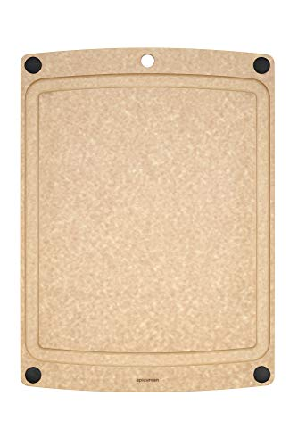 """Epicurean 505-151101003 All-In-One Cutting Board with Non-Slip Feet and Juice Groove, 14.5\"""" by 11.25\"""", Natural"""