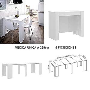 HABITMOBEL Mesa de Comedor Consola Extensible a 239 cm, Medidas Cerrada 90 x 78 x 54 cm