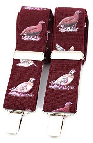 Spel Vogels op Wijn Broek Braces - 35mm Elastische X Terug 4 Clip Jacht Schieten