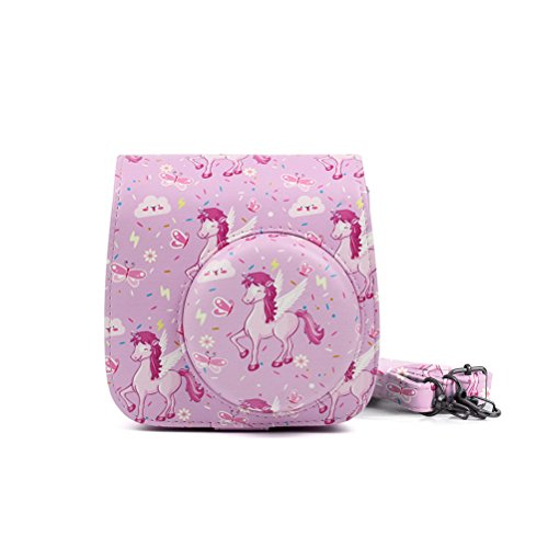LEDMOMO PU-Leder Kameratasche Schutzhülle für Fujifilm Instax Mini 8/8 +/9 Sofortbildkamera (Pink Horse)