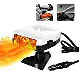 Portable Heater for Car, Car Heater & Cooling Fan 12V 150W Windshield Defogger Defroster, Fast Heating, 360-degree Rotation (White)