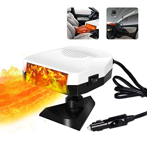 Portable Heater for Car, 12V 150W Car Heater & Cooling Fan Windshield Defogger Defroster, Fast Heating, 360-degree Rotation (White)