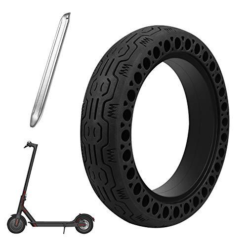 Oladwolf E Scooter Reifen für Xiaomi M365 + Brechstange, Xiaomi Mijia Elektro Scooter Elektroroller Ersatzreifen, Verschleißfester, Rutschfester Vollgummireifen, Einfache Montage Wabenreifen