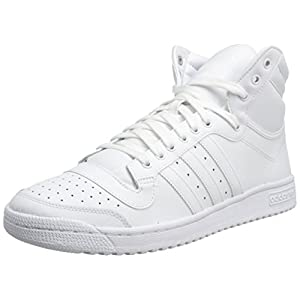 adidas Originals Men's Top Ten Hi Basketball Shoe, White/White/White, 7 M US