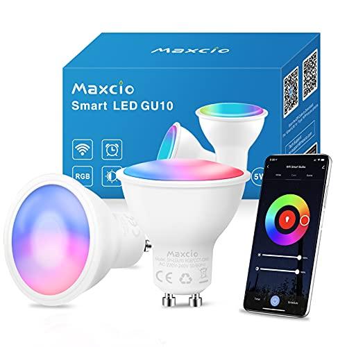 Bombilla Inteligente GU10, Maxcio Bombilla LED GU10 Wifi Compatible con Alexa &...