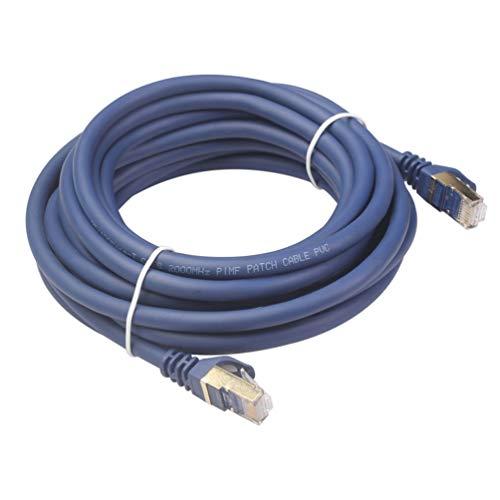 Cable Ethernet Cat8 40Gbps Rj 45 Cable de Red LAN Rj45 Cable de conexión para computadora portátil Ps4 para enrutador Ps4 Cable Cat 8 Ethernet (Azul)