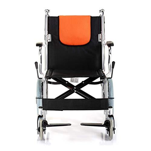 JUNYYANG Silla de rehabilitación médica, silla de ruedas, silla de ruedas plegable de peso ligero de conducción médica, Silla de ruedas portátil ultra empuje de la luz Antiguo aleación de aluminio Vol
