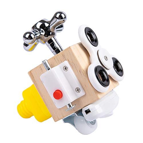 XHTZDHT Cubo de actividades ocupadas, cubo ocupado Montessori, juguete interactivo de madera Montessori, cubo ocupado para la infancia, cerraduras y cierres para viajes niños pequeños (B)
