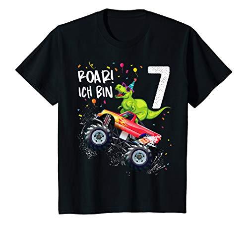 Kinder Geburtstag 7 Jahre Dinosaurier Monster Truck Jungen Mädchen T-Shirt