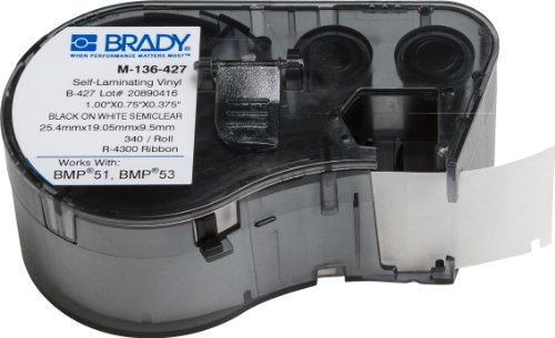 Brady Self-Laminating Vinyl Label Tape - Black on White, Translucent Tape - Compatible with BMP41, BMP51, and BMP53 Label Makers - .75 Height.375 Width (M-136-427)
