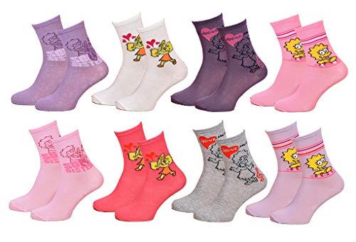 Cartoon Club Damen Socken Les Simpsons aus Baumwolle Gr. 35/41 EU, Packung mit 8 Paar